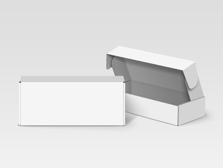 Two white blank boxes, one open and right tilt, isolated gray background, 3d illustration, elevated view Illustration