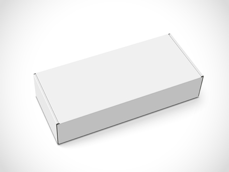 Left tilt white blank box, isolated white background, 3d illustration, elevated view