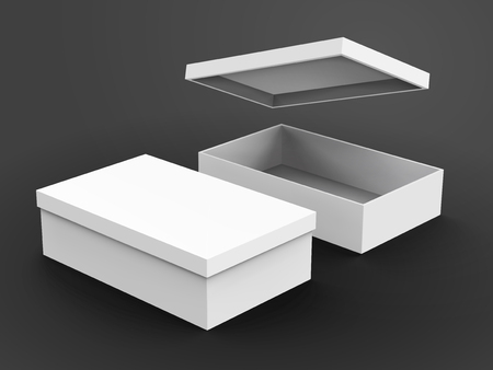 Two right tilt white blank boxes, one open with a floating box lid, isolated dark gray background, 3d illustration