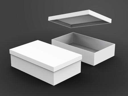 Twee juiste schuine stand witte lege dozen, één open met een drijvend doosteksel, geïsoleerde donkere grijze achtergrond, 3d illustratie