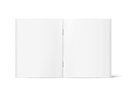 Blank standing open book 3d illustration, can be used as design element, isolated white background, side view Ilustração
