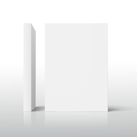 two blank standing thick books 3d illustration, placed in L shape, can be used as design element, isolated shadowy white background, side view Illustration