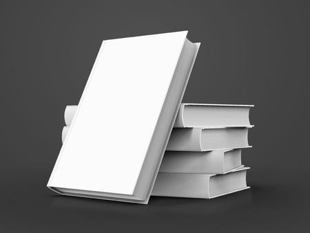 빈 흰색 책, 4 개의 오른쪽 기울기 사람과 그들에 기울고 다른 디자인 요소로 사용할 수있는 격리 된 어두운 회색 배경, 3d 그림 일러스트