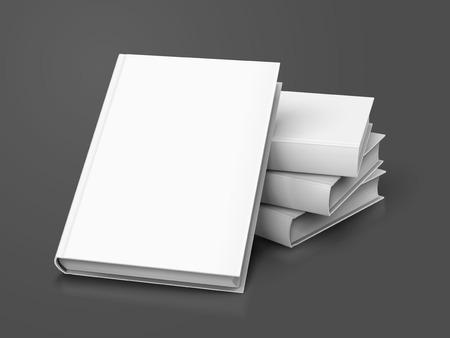 빈 흰색 책, 세 오른쪽 기울기 사람과 그들에 기울고 다른 디자인 요소로 사용할 수있는 격리 된 어두운 회색 배경, 3d 그림 일러스트