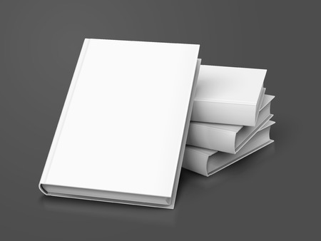blank white books, three right tilt ones and another leaning on them, can be used as design element, isolated dark gray background, 3d illustration