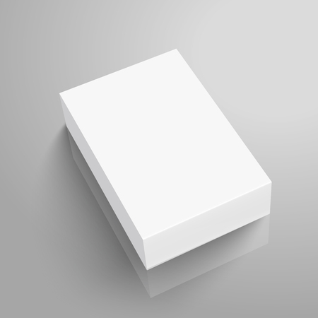 Right tilt blank paper flat box 3d illustration, can be used as design element, isolated gray background, elevated view