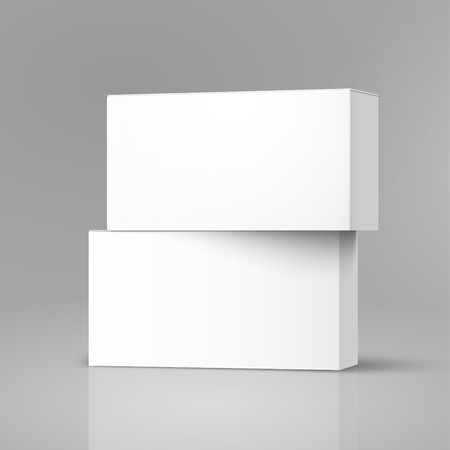 One right tilt blank paper box stacking on another one, 3d illustration, can be used as design element, isolated gray background, side view