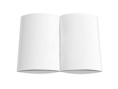 空白の本 3 d イラストレーション、デザイン要素、白い背景に分離、上昇のビューとして使用できます。  イラスト・ベクター素材