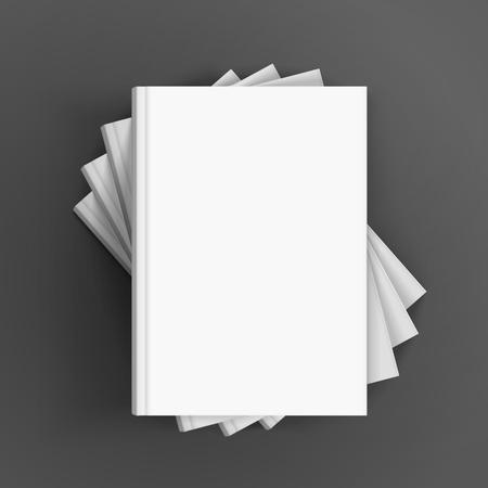 Vier lege witte boeken die in spiraalvormige vorm stapelen, kunnen als ontwerpelement, geïsoleerde donkere grijze achtergrond, 3d illustratie worden gebruikt