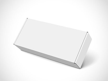 Right tilt white blank box, isolated white background, 3d illustration, elevated view