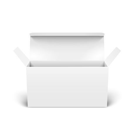 Open blank paper box 3d illustration, can be used as design element, isolated white background, elevated view