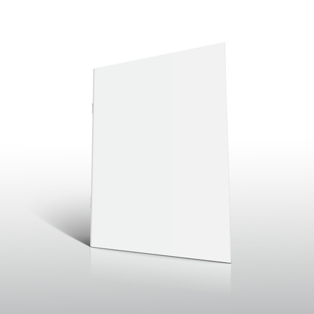 Blank right tilt standing brochure 3d illustration, can be used as design element, isolated shadowy white background, side view