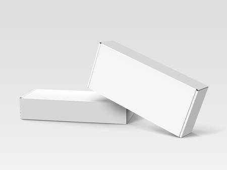 One white right tilt blank box stacking on another one, isolated gray background, 3d illustration, elevated view Çizim