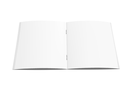 Blank open brochure 3d illustration, can be used as design element, isolated white background, elevated view Ilustrace