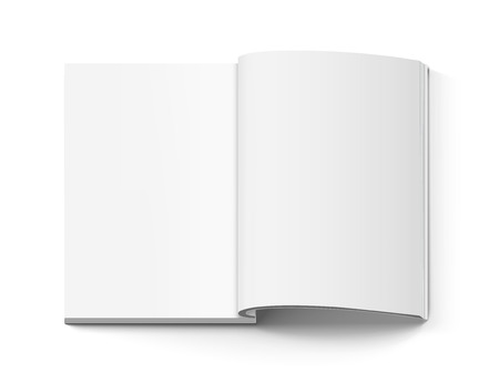 Blank thick open book 3d illustration, can be used as design element, isolated white background, top view