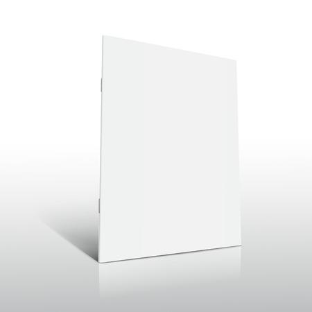 空白左立っているパンフレットの 3 d 図を傾ける、サイドビュー、孤立した謎に包まれた白い背景のデザイン要素として使用することができます。