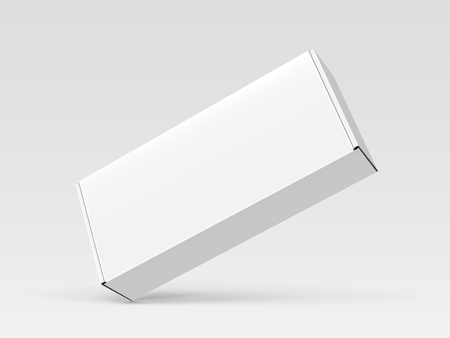 Left tilt white blank box, isolated gray background, 3d illustration, elevated view Illustration