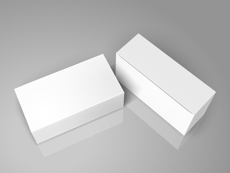 Two tilt blank paper boxes 3d illustration, can be used as design element, isolated gray background, top view