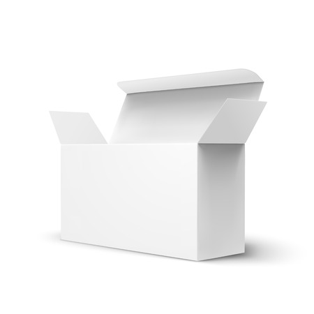 Open right tilt blank paper box 3d illustration, can be used as design element, isolated white background, side view