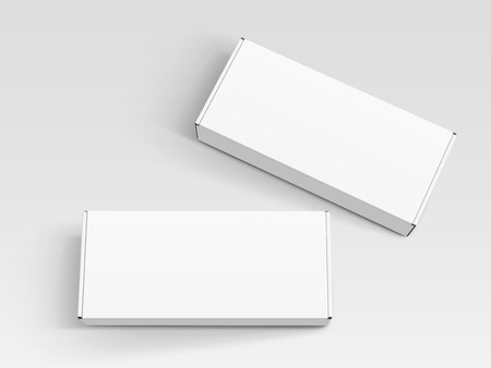 two white blank boxes, one right tilt, isolated gray background, 3d illustration, top view Illustration