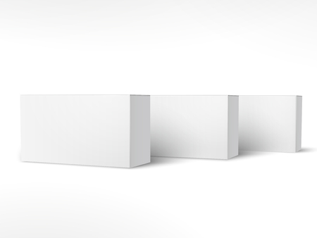 Three right tilt blank paper boxes 3d illustration, can be used as design element, isolated white background, side view