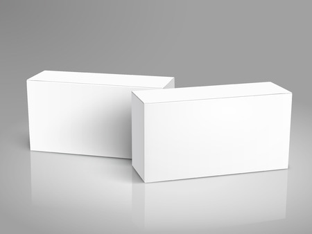 two tilt blank paper boxes 3d illustration, can be used as design element, isolated gray background, elevated view