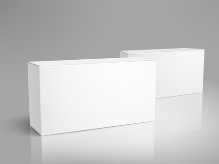 Two left tilt blank paper boxes 3d illustration, can be used as design element, isolated gray background, elevated view 版權商用圖片 - 80609033