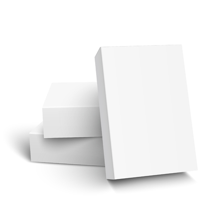 One blank paper box leaning on other two, 3d illustration, can be used as design element, isolated white background, elevated view