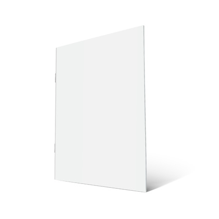 Blank right tilt standing brochure 3d illustration, can be used as design element, isolated white background, side view