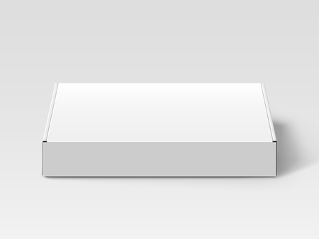 White blank box, isolated gray background, 3d illustration, elevated view