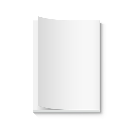 Blank thick book 3d illustration, page turned, can be used as design element, isolated white background, top view Illustration