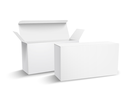 Two left tilt blank paper boxes 3d illustration, one open, can be used as design element, isolated white background, elevated view