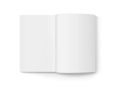 Blank open book 3d illustration, can be used as design element, isolated white background, top view