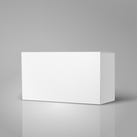 Right tilt blank paper box 3d illustration, can be used as design element, isolated gray background, elevated view
