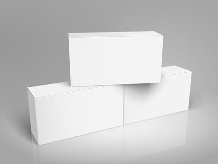 接続されている 2 つの 1 つの空白の紙ボックス左傾き空白のボックスの 3 d 図では、デザイン要素として使用することができます、背景が灰色、立面  イラスト・ベクター素材