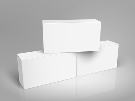 One blank paper box on two connected left tilt blank boxes 3d illustration, can be used as design element, isolated gray background, elevated view