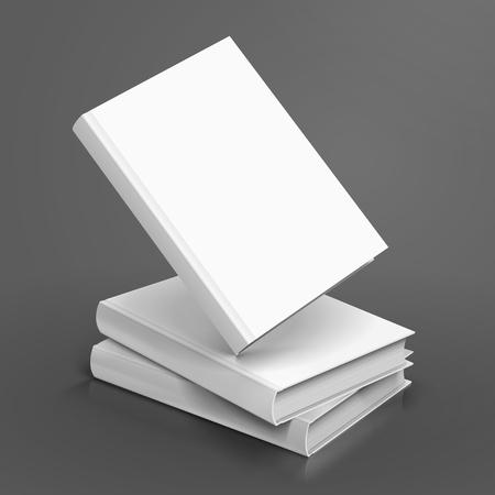 3 오른쪽 기울기 빈 화이트 책, 하나의 부동 디자인 요소로 사용할 수있는 격리 된 어두운 회색 배경, 3d 그림