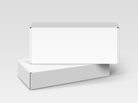 One white blank box stacking on another left tilt one, isolated gray background, 3d illustration, elevated view Illustration