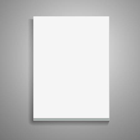 빈 두꺼운 책 3d 일러스트 레이 션, 디자인 요소로 사용할 수있는 격리 된 회색 배경, 상위 뷰