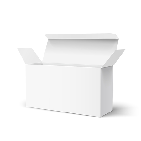 Open right tilt blank paper box 3d illustration, can be used as design element, isolated white background, elevated view Illustration
