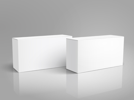 Two left tilt blank paper boxes 3d illustration, can be used as design element, isolated gray background, elevated view