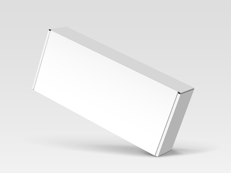 Right tilt white blank box, isolated gray background, 3d illustration, elevated view