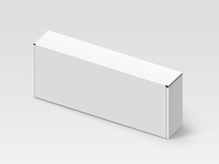白い空白のボックス、孤立した灰色の背景、3 d 図、立面図を右チルトします。