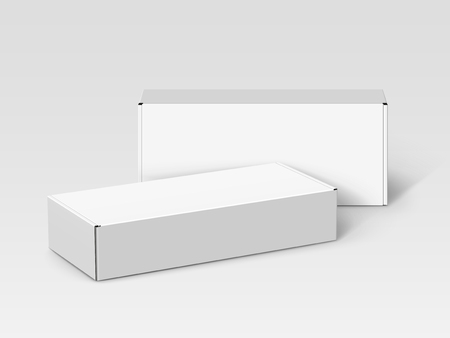 Two white blank boxes, one left tilt, isolated gray background, 3d illustration, elevated view Illustration