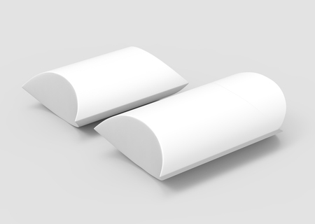 two elevated view white 3d rendering left tilt blank pillow boxes, isolated gray background Reklamní fotografie