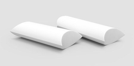 two side view white 3d rendering right tilt blank pillow boxes, isolated gray background Reklamní fotografie - 80704792