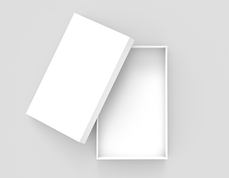white 3d rendering blank open rectangular box with box separate lid, isolated gray background, top view Stock fotó - 80704799