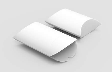 two elevated view white 3d rendering right tilt blank pillow boxes, one open, isolated gray background