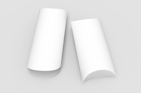 two tilt elevated view white 3d rendering blank pillow boxes, one open, isolated gray background