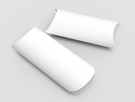 two right tilt white 3d rendering blank top view pillow boxes, isolated gray background Reklamní fotografie